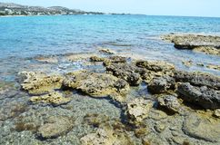 Stony shore of the Greek island of Rhodes. royalty free stock image