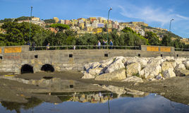 On the shore of the Mediterranean Sea in Naples Stock Image
