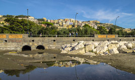 On the shore of the Mediterranean Sea in Naples Royalty Free Stock Photography