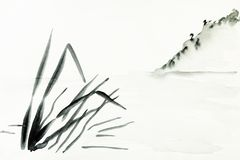 Shore with mountain slope is hand drawn on paper. Training drawing in sumi-e suibokuga style with watercolor paints - view of shore with mountain slope is hand royalty free illustration