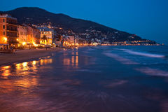 Shore by night at Alassio Royalty Free Stock Images