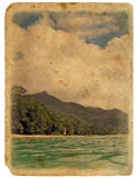 Shore of the ocean, beach. Old postcard. Royalty Free Stock Photo