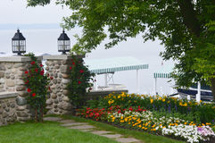 Shore Path Beauty Lake Geneva, WI. This is the entrance to the shore path where you can walk all the way around the beautiful Lake Geneva located in Walworth Royalty Free Stock Images