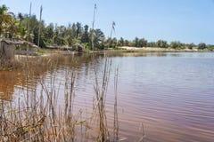 On the shore of Retba Lake (or Pink lake) Royalty Free Stock Photos