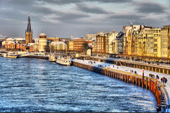 Shore of Rhein river during day in Dusseldorf Stock Photos