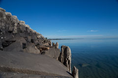 The Shore. Rock wall on bank of Lake Michigan royalty free stock images