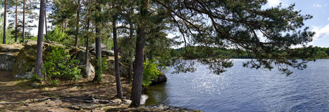 Shore with rocks and sparkling blue swedish lake Stock Photos