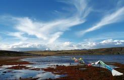 On the shore of sacred Lake Manasarovar. Royalty Free Stock Photography