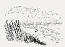 Shore by the sea. Shore at the sea, footprints on the shore, ink sketch. A man moves away along the seashore, A landscape sketch, a horizon and large clouds vector illustration