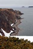 Shore of the sea of Okhotsk. Spring, Peninsula Taigonos, Magadan region, Siberia, far East, Royalty Free Stock Image