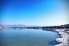 Shore of the sea salt. Dead Sea landscape pretty clean in the summer day Royalty Free Stock Image