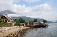 Shore of Sognefjord at Balestrand Royalty Free Stock Photography
