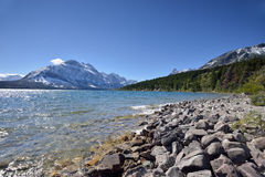 Shore of St. Mary Lake in Glacier National Park Royalty Free Stock Photo
