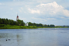 The shore of the Sukhona River in Totma, Russia Royalty Free Stock Image