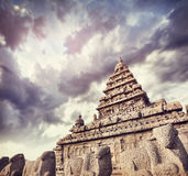 Shore temple with bull statues. At blue dramatic sky in Mamallapuram, Tamil Nadu, India Royalty Free Stock Images