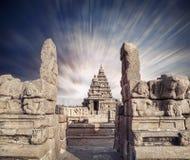 Shore temple in India. Shore temple at blue dramatic sky in Mamallapuram, Tamil Nadu, India Royalty Free Stock Photo