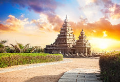 Shore temple in India. Shore temple at sunset sky in Mamallapuram, Tamil Nadu, India Stock Photos