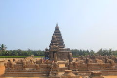 Shore temple in Mahabalipuram, India. Shore temple is one of group of monuments at Mahabalipuram, located 60km from Chennai city of India. Classified as UNESCO Stock Image