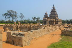 Shore temple in Mahabalipuram, India. Shore temple is one of group of monuments at Mahabalipuram, located 60km from Chennai city of India. Classified as UNESCO Royalty Free Stock Photo