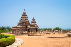 Shore temple at Mahabalipuram, Tamil Nadu, India. Which is a popular UNESCO world heritage site in Tamil Nadu, India Stock Images