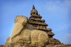 Shore temple in Mamallapuram. Ancient Shore Temple at Mahabalipuram, Kanchipuram District, Tamil Nadu, India Stock Photos