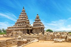 Shore temple a popular tourist destination and UNESCO world heritage at Mahabalipuram, Tamil Nadu, India. The old temple is dedicated to Vishnu god of Hindus royalty free stock photography