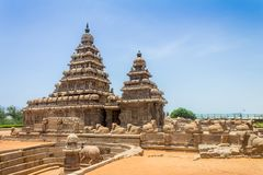 Shore temple at Mahabalipuram, Tamil Nadu, India. Shore temple which is a popular tourist destination and UNESCO world heritage site at Mahabalipuram, Tamil Nadu Stock Photos