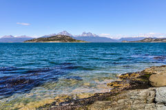The shore, Tierra del Fuego National Park, Ushuaia, Argentina. View of the mountains on the shore, Tierra del Fuego National Park, Ushuaia, Argentina stock photography