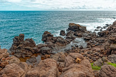 Shore of  tiny island of NGor in Atlantic ocean Stock Images