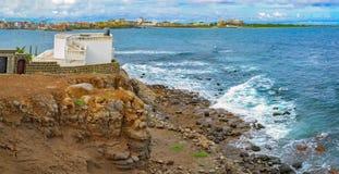 Shore of  tiny island of NGor in Atlantic ocean Royalty Free Stock Image