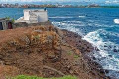 Shore of  tiny island of NGor in Atlantic ocean Royalty Free Stock Photo