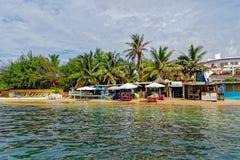 Shore of  tiny island of NGor in Atlantic ocean Royalty Free Stock Photography