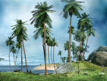 Shore of a tropical island. With palms Royalty Free Stock Images