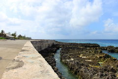 Shore view. Long stretch view of seashore on Grand Cayman Royalty Free Stock Photos