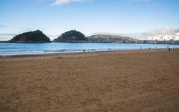 Beautiful shore view on island santa clara in atlantic ocean concha bay, san sebastian, basque country, spain Royalty Free Stock Photography