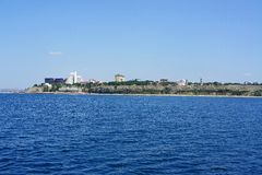 Shore. View from the sea to the high bank of the city of Anapa Stock Images