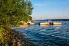 Shore of the Volga river in the morning sun. Stock Photos