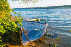 Shore of the Volga river in the morning sun. Royalty Free Stock Photography