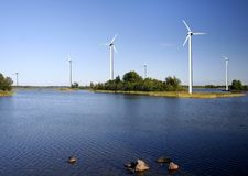On-shore wind power farm Stock Photos