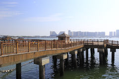 Shore wooden bridge. Royalty Free Stock Image