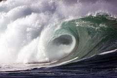 Shorebreak 3. A powerful wave impacts the shoreline Stock Photo