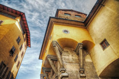 Shored up building in Ponte Vecchio in hdr Stock Photos