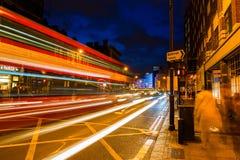 Shoreditch High Street in London, UK, at night Royalty Free Stock Photos