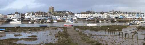 Shoreham小船和老镇 库存照片