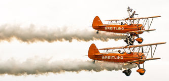 Shoreham Airshow 2014 - Breitling Wing Walkers Fotos de archivo