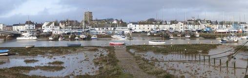 Shoreham-Boote und alte Stadt Stockfoto
