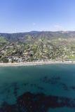 Shoreline Aerial Malibu California. Aerial view of mountains, beaches and ocean kelp near Malibu, California Royalty Free Stock Photo