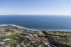 Shoreline Aerial Malibu California. Aerial view of the Pacific Ocean and Malibu California Stock Photos