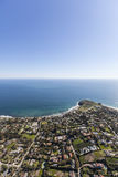 Shoreline Aerial Malibu California. Aerial view of shoreline view estates in Malibu, California Stock Photos