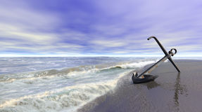 Shoreline with anchor. Shoreline scene with an old rusty anchor on wet sand. 3d illustration Stock Photo